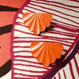 VTG Art Deco Design 80s Metal Earrings